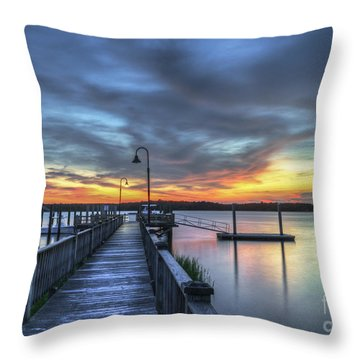 Sunset Over The River Throw Pillow