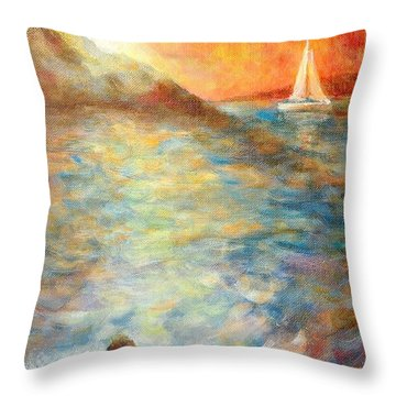 Sunset Over The Sea. Throw Pillow