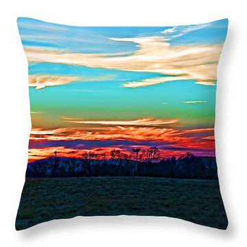 Throw Pillow featuring the photograph Sunset Over The Sunset by B Wayne Mullins