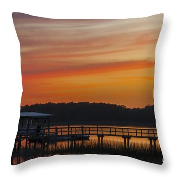 Sunset Over The Wando River Throw Pillow by Dale Powell