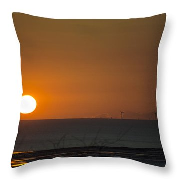 Sunset Over The Windfarm Throw Pillow