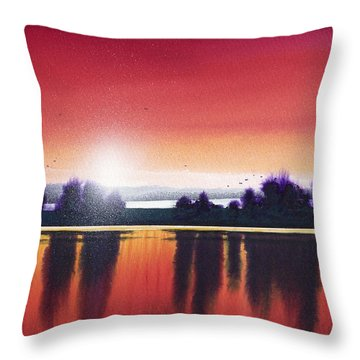 Sunset Over Two Lakes Throw Pillow