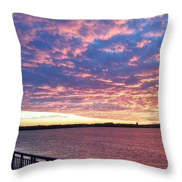 Sunset Over Verrazano Bridge And Narrows Waterway Throw Pillow