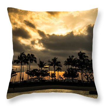 Sunset Over Waikiki Throw Pillow