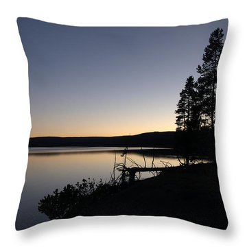 Sunset Over Yellowstone Lake Throw Pillow