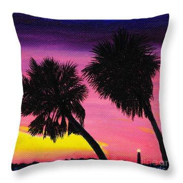 Sunset Palms At Fort Desoto Throw Pillow by Jane Axman