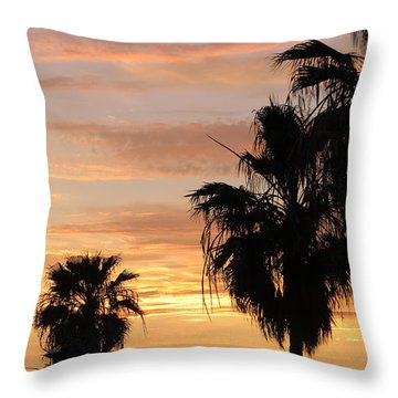 Throw Pillow featuring the photograph Sunset Palms by Charles Ables