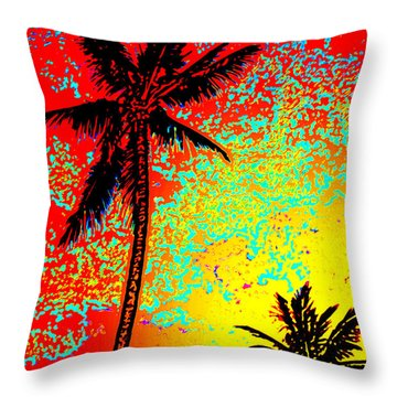 Throw Pillow featuring the photograph Sunset Palms by David Lawson