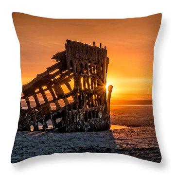 Sunset Peter Iredale Throw Pillow by James Hammond