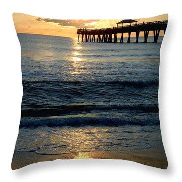 Sunset Pier Throw Pillow by Carey Chen