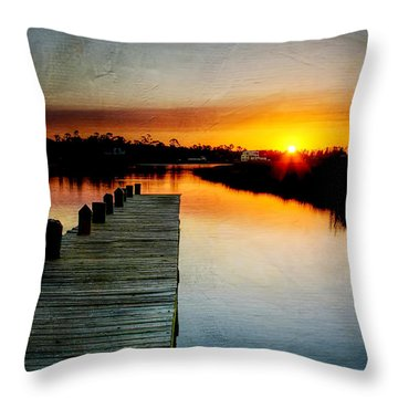 Sunset Pier Throw Pillow by Joan McCool