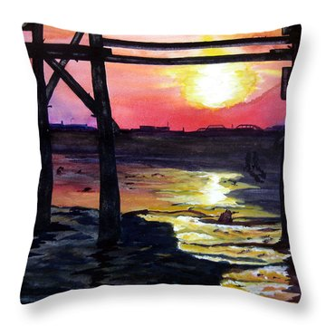 Throw Pillow featuring the painting Sunset Pier by Lil Taylor