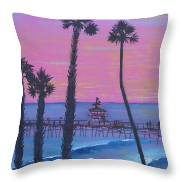 Throw Pillow featuring the painting Sunset Pier by Mary Scott