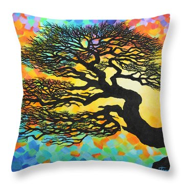 Throw Pillow featuring the painting Sunset Pine by Jane Girardot