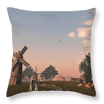 Sunset Play Throw Pillow by Ken Morris