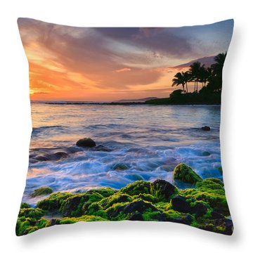 Throw Pillows Magnolia : Sunset Poipu Beach - Kauai Photograph by Henk Meijer Photography