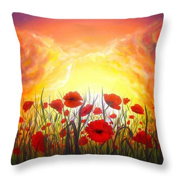 Throw Pillow featuring the painting Sunset Poppies by Lilia D
