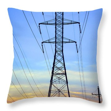 Sunset Power Lines Throw Pillow by Olivier Le Queinec