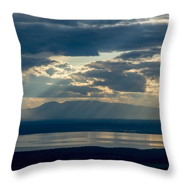 Sunset Rays Over Mount Susitna Throw Pillow