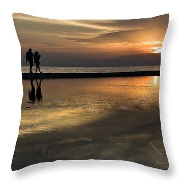 Sunset Reflection And Silhouettes Throw Pillow