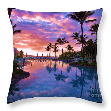 Sunset Reflection St Regis Pool Throw Pillow by Michele Penner