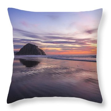 Sunset Reflections At Morro Bay Beach Rock Fine Art Photography Print Throw Pillow by Jerry Cowart