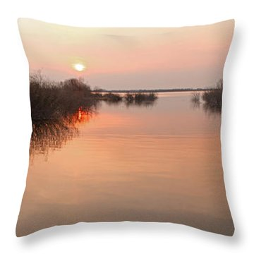 Sunset  River Panorama Throw Pillow