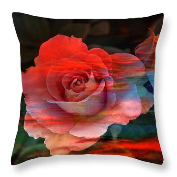 Sunset Rose Throw Pillow