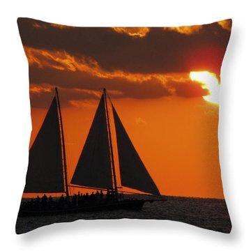 Key West Sunset Sail 3 Throw Pillow