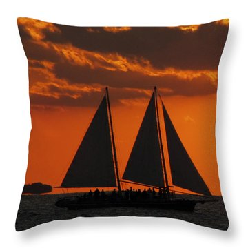 Key West Sunset Sail 3 Throw Pillow