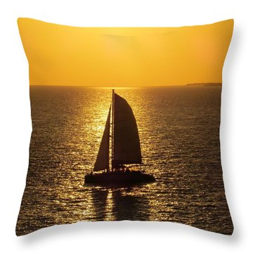 Throw Pillow featuring the photograph Sunset Sail by Jennifer Wheatley Wolf
