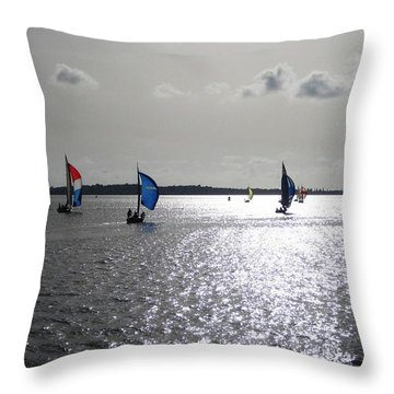 Throw Pillow featuring the photograph Sunset Sail by Judy Palkimas