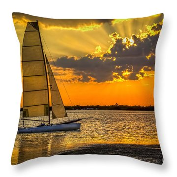 Sunset Sail Throw Pillow by Marvin Spates