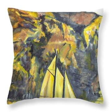 Sunset Sail On Lake Garda Italy Throw Pillow by Carol Wisniewski