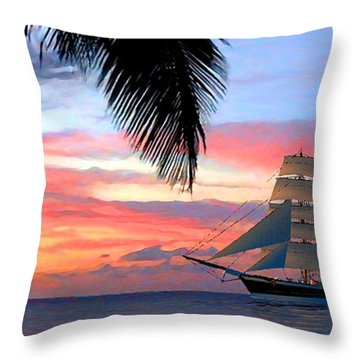 Sunset Sailboat Filtered Throw Pillow