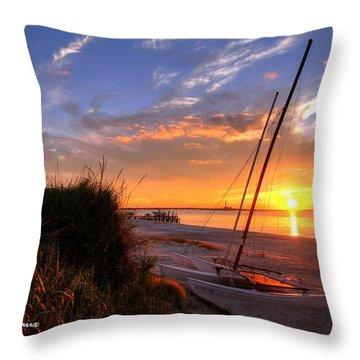 Sunset Sailboat Throw Pillow by John Loreaux
