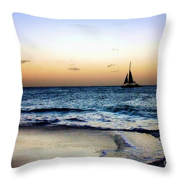 Sunset Sailing In Aruba Throw Pillow