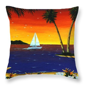 Sunset Sails Throw Pillow by Lance Headlee