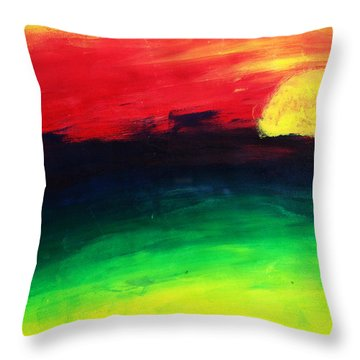 Throw Pillow featuring the painting Sunset by Salman Ravish