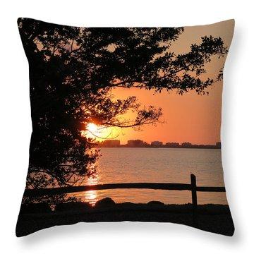 Sunset On Sarasota Harbor Throw Pillow