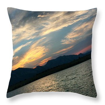 Sunset Silhouette Boulder Colorado Throw Pillow