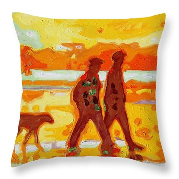 Sunset Silhouette Carmel Beach With Dog Throw Pillow