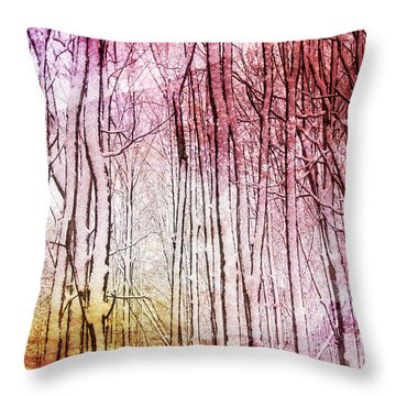 Sunset Snow Twigs Throw Pillow