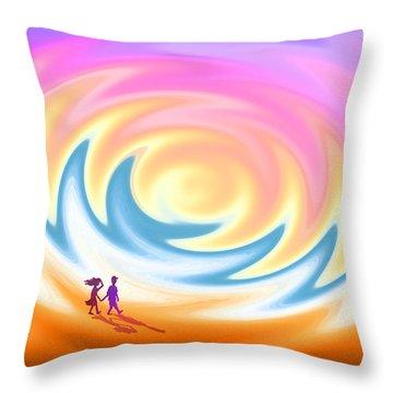 Sunset Stroll On A Windy Beach Throw Pillow