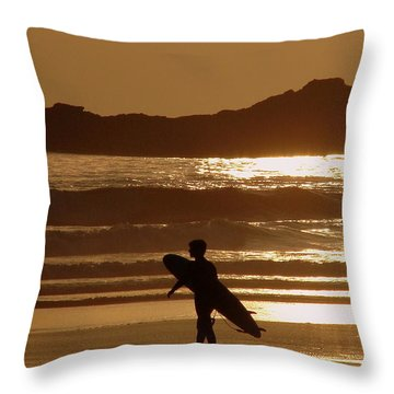 Sunset Surfer Throw Pillow by Ramona Johnston