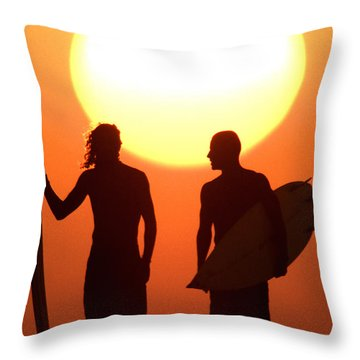 Sunset Surfers Throw Pillow by Sean Davey