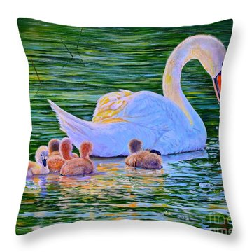 Sunset Swan Family Throw Pillow