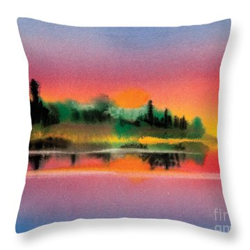 Throw Pillow featuring the painting Sunset by Teresa Ascone