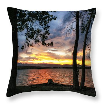 Sunset Through The Trees Throw Pillow