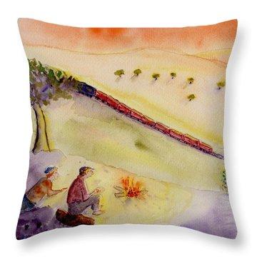 Sunset Train Throw Pillow